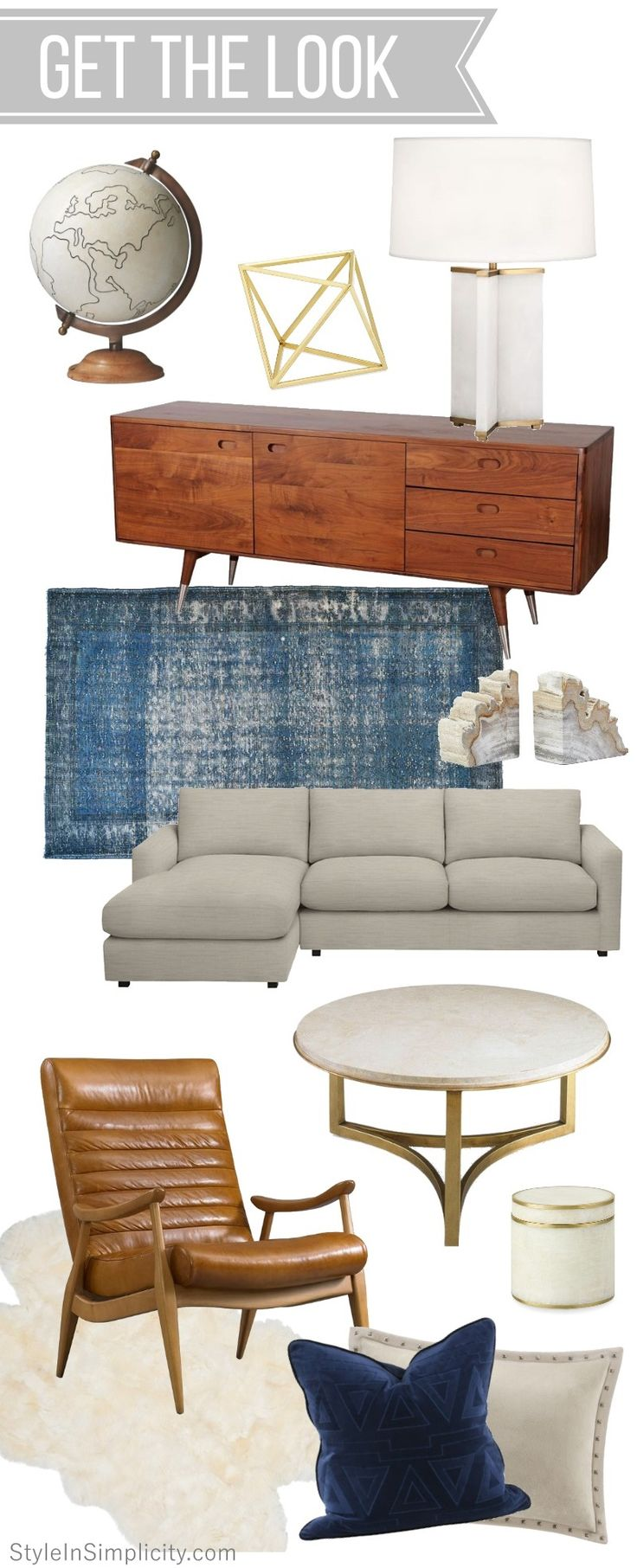 Get The Look // Mid Century Modern Inspired Living Room EDesign Via  StyleInSimplicity.