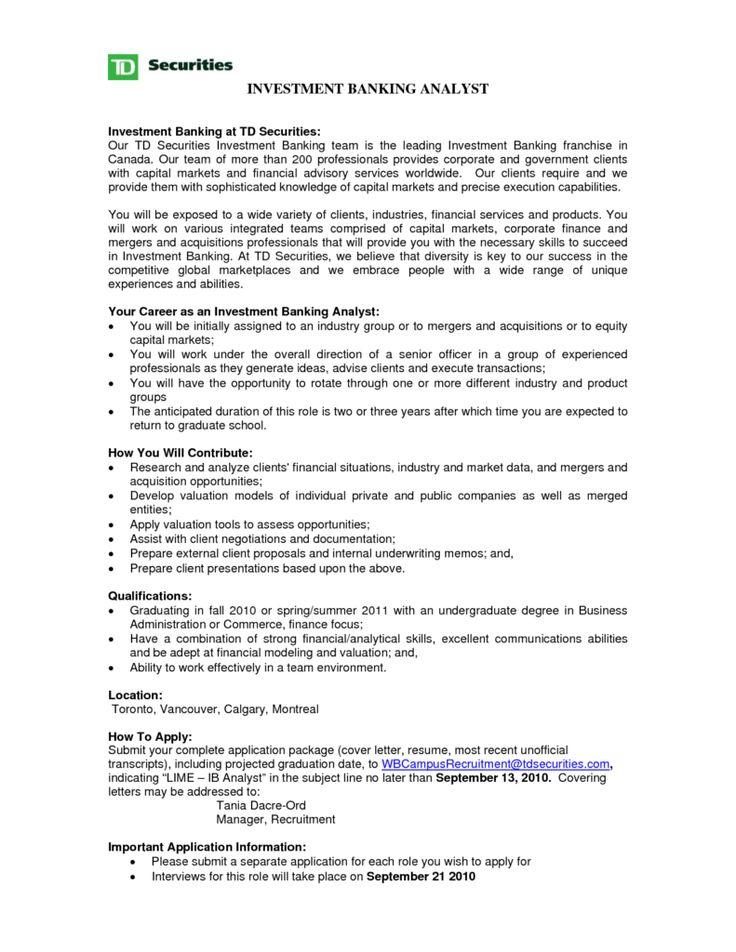 investment banker resume