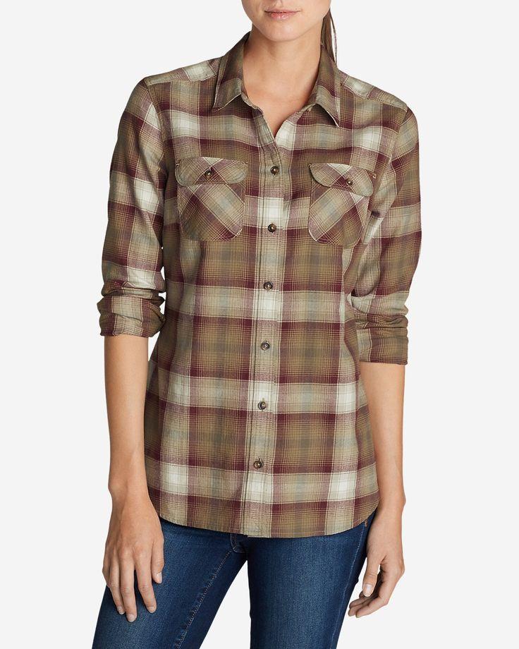 Women 39 s stine 39 s favorite flannel shirt plaid eddie for Womens christmas flannel shirt