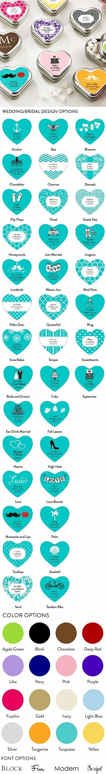 Personalized Heart-Shaped Mint Tins (Wedding Designs)