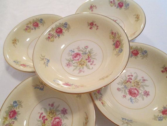 Vintage 1940u0027s Homer Laughlin Eggshell Nautilus Dresden N1679 Fruit u0026 Dessert Bowls- ... & 14 best Antique images on Pinterest | Homer laughlin Vintage dishes ...