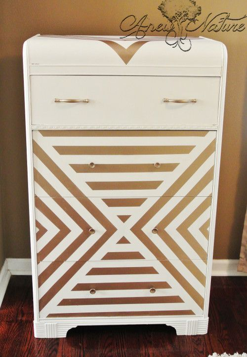 Perfect Dresser Upcycle By Anew Nature, Gold Chevron Design, Retro Chic, White And  Gold