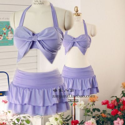 chest, chest steel, purple small fresh and large butterfly knot skirt type Bikini three sets of hot spring bathing suit US $104.47 /piece Specifics Material	Polyester Pattern Type	Solid Waist	Low Waist Gender	Women Item Type	Bikinis Set Style	Skirt bikini  Click to Buy :http://goo.gl/t9O329