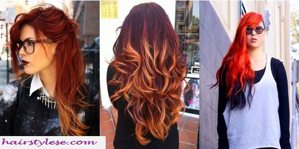 Lt side pic-Flame Red w/subtle Balayage highlights, Middle picture-Red w/Golden blonde balayage highlights, Rt side pic-Orange Red w/black under