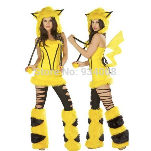 new Sexy Halloween Female clothes Yellow Pikachu Costumes Cosplay Costume free Size for Halloween hot sale#sexy pikachu costume
