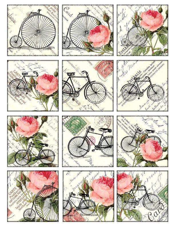 bicicletas y rosas Vintage para imprimir etiquetas por 300dpi