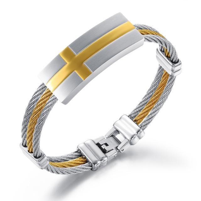 Mens Stainless Steel Wire Cross Bracelet