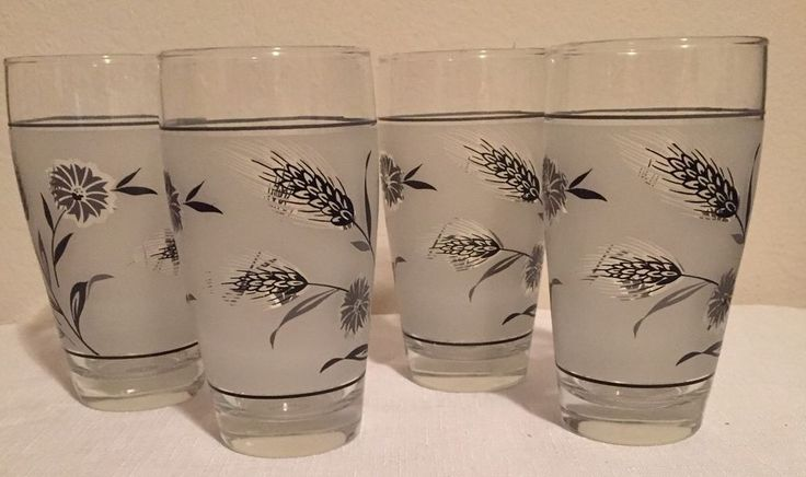 Libby Vintage Frosted Wheat Glasses Set Of 4 Gray Black