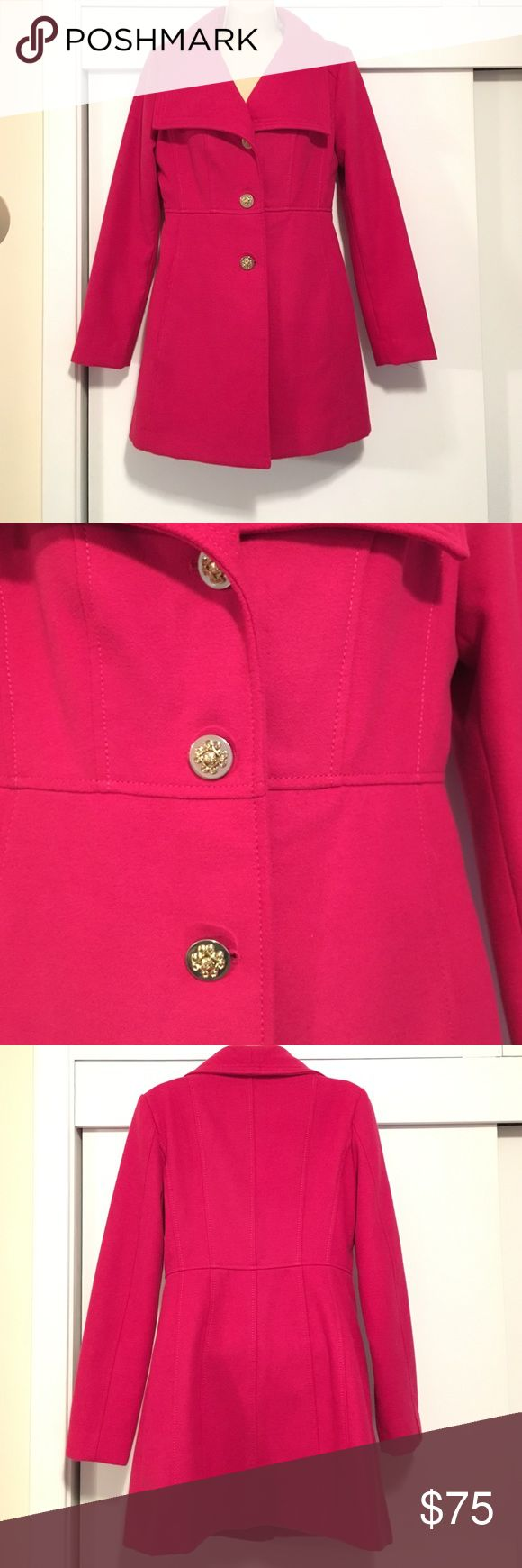 Jessica Simpson Pink Coat sz S Brand new, never worn! Beautiful Magenta pink Jessica Simpson coat with gold detailed buttons sz S. This coat is in brand-new condition. No trades please, from a pet and smoke free home. Jessica Simpson Jackets & Coats