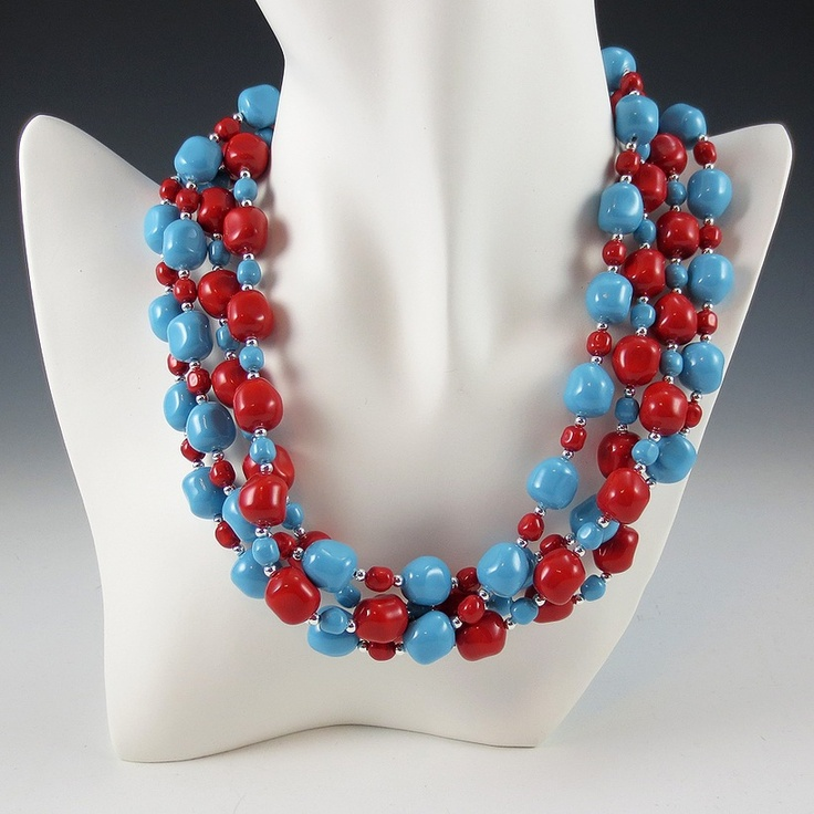 Swarovski Baroque Crystal Pearl Necklace Set - Coral and Turquoise Colors    #fashion #jewelry #necklace #set #swarovski #baroque #crystal #pearls #chunky