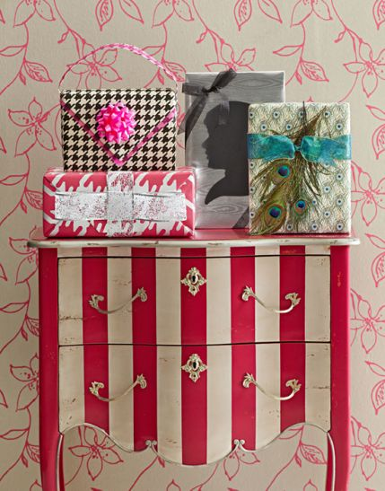 amber how about the dresser in the girls room repainted in stripes or would not polka dots be fun?
