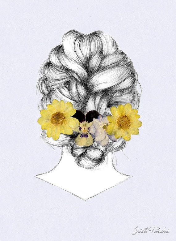 Flower Girl  Fine Art Illustration Drawing by JoellesEmporium - http://www.etsy.com/uk/listing/178107049/flower-girl-fine-art-illustration?ref=shop_home_active_15