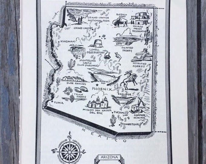 Arizona Map / Vintage Map Print / Travel Wall Art / 1950s America Book Page / Picture Map of Arizona  / State Wall Decor / AZ Map Decor