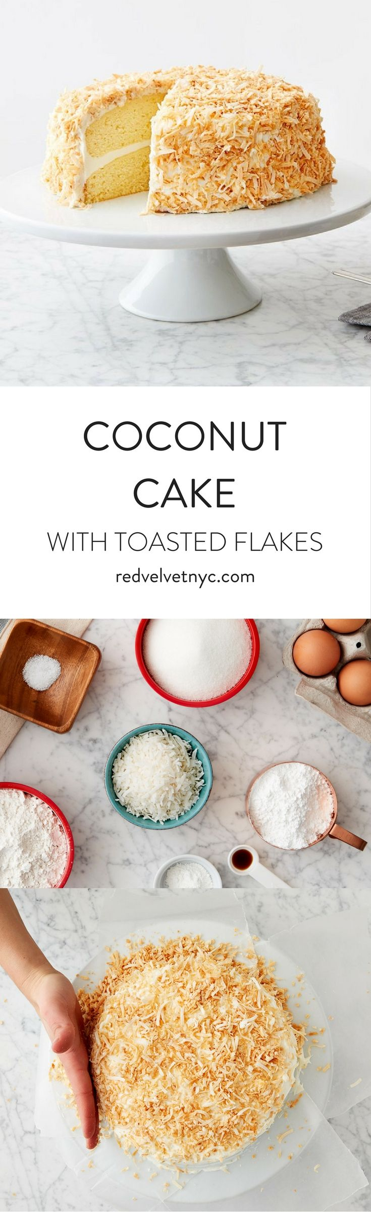 Made from scratch, this moist cake with coconut cream frosting and toasted flakes is a stunning take on the classic cake. Perfect for spring parties and Easter celebrations!