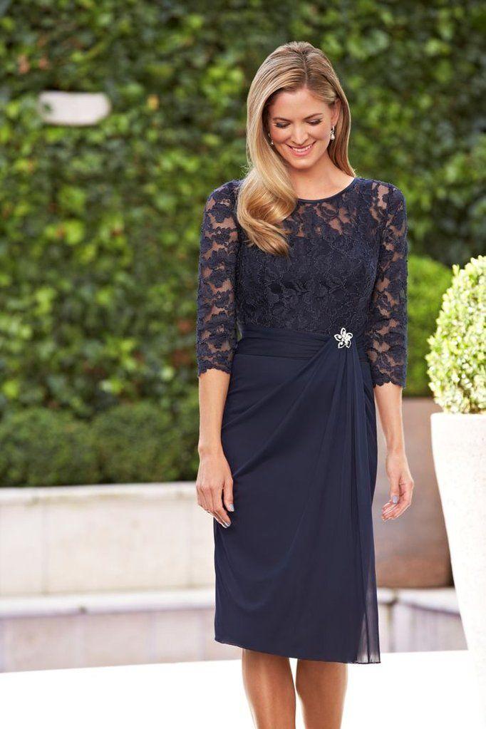 A Line Navy Blue Lace 3/4 Ärmel Short Chiffon Short Mutter der Braut Kleider zum Verkauf – PromDress.me.uk