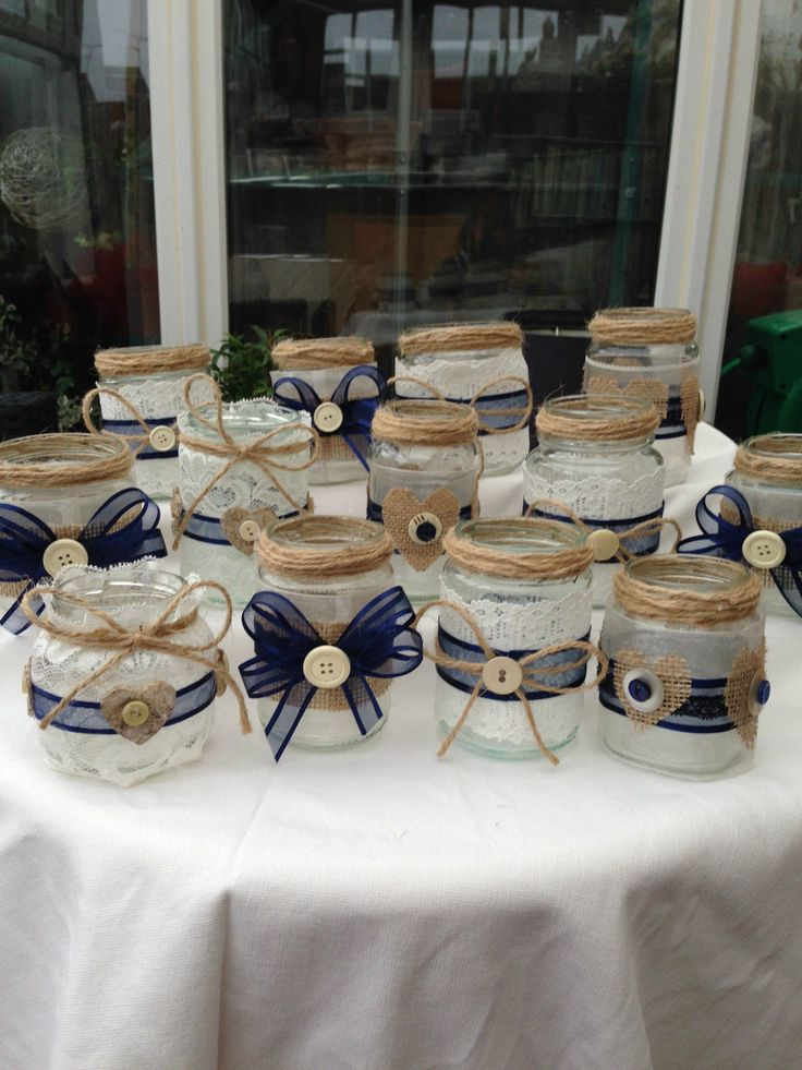 SHABBY CHIC/VINTAGE WEDDING DECORATED GLASS JAR TEA LIGHT HOLDERS/FAVOURS X 20 | eBay