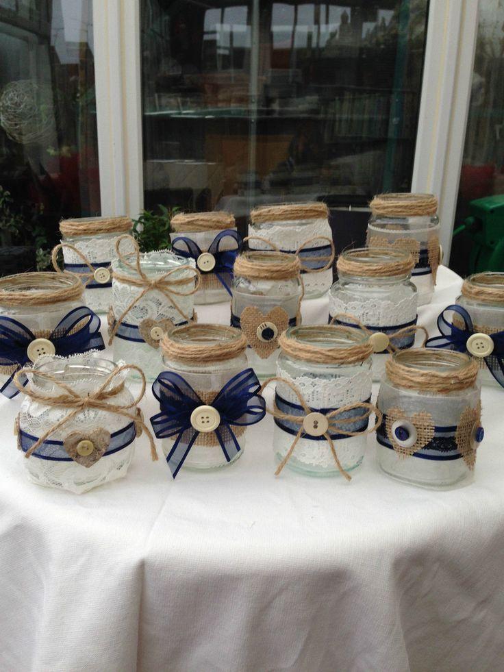 SHABBY CHIC/VINTAGE WEDDING DECORATED GLASS JAR TEA LIGHT HOLDERS/FAVOURS X 20 | eBay