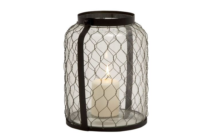 Farmhouse Iron & Glass Candle Holder by UMA from Gardner-White Furniture