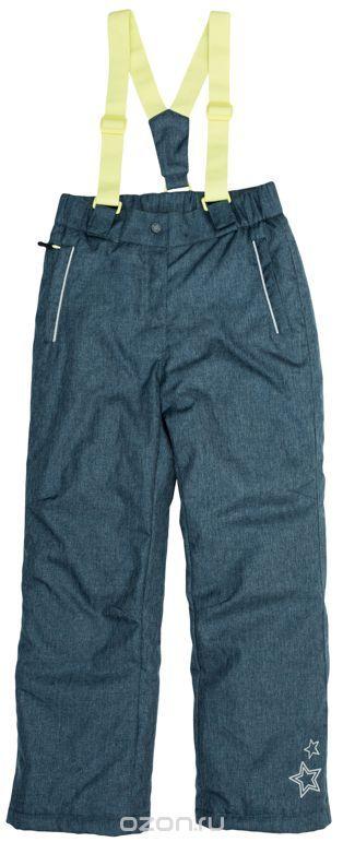 Полукомбинезон для девочек. 64151Стильные утепленные брюки из непромокаемой плащевки с эффектом джинсовой ткани. По бокам два функциональных кармана на молнии со специальным манжетом для защиты от снега. Застегиваются на молнию и кнопку. Пояс на резинке, низ штанишек утягивается стопперами. Внутри уютная флисовая подкладка. Есть специальный слой - снегозащита, который надевается на сапоги. Эластичные лимонно-лаймовые бретели регулируются по длине.
