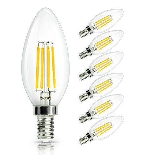 SHINE HAI Ampoule LED Filament E14, 4W Equivalent à Ampoule Halogène /Incandescente 40W, Blanc Chaud 2700K, Flamme Bougie LED encastrable,…