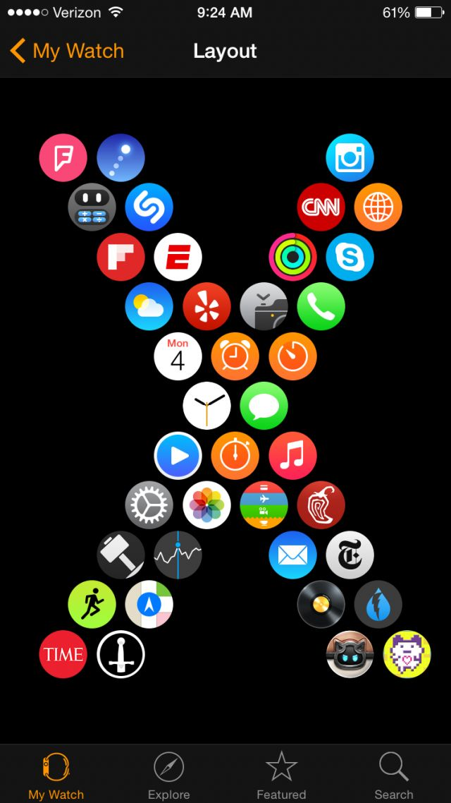 Apple watch app layout customizations what fun!