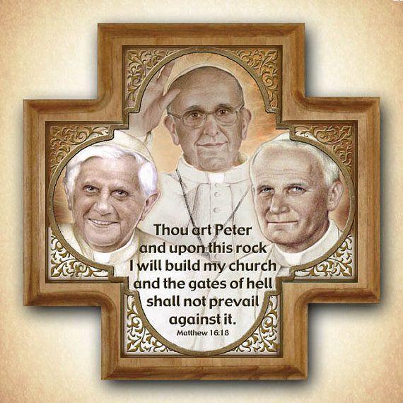 Drie pausen Wood Cross paus Francis paus door PortraitsofSaints