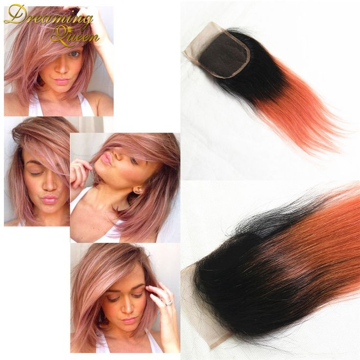 """Rose Gold Blonde Virgin closures Brazilian Body Wave lace closure 10""""-20"""" 7A Grade  4*4 Human Hair Closure Free Middle 3 Part"""