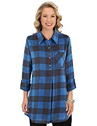 New Collections Etc Buffalo Plaid Tunic Top w/Roll Tab Sleeves online. Find the perfect Unlimited Embroidery Tops-Tees from top store. Sku GESQ60481CIMC85142