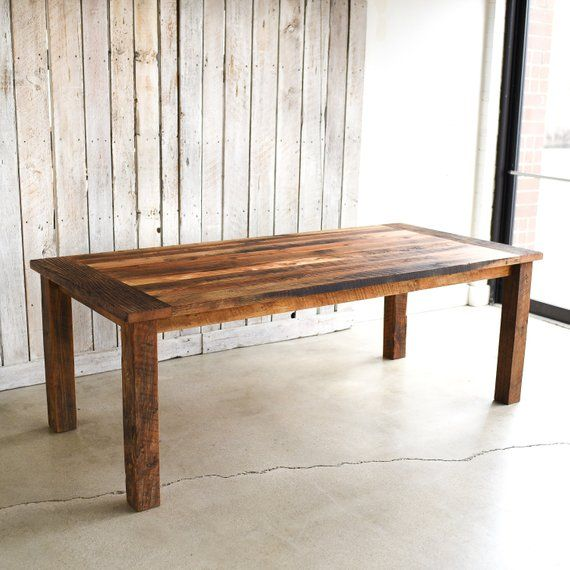 Farmhouse Dining Table Made From Reclaimed Wood Textured Finish