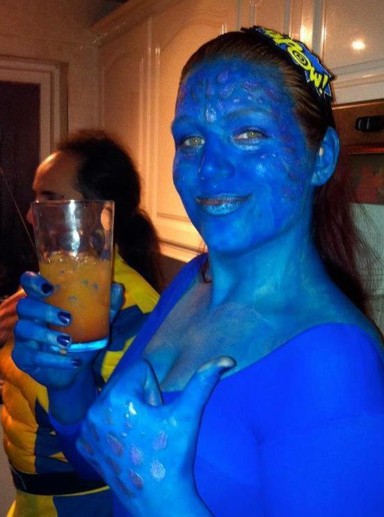 Mystique Fancy Dress Xmen Blue Body Paint Comic Con