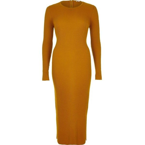 River Island Mustard yellow ribbed bodycon midi dress (40.385 CRC) ❤ liked on Polyvore featuring dresses, knitted dresses, women, yellow, brown bodycon dress, long sleeve bodycon dress, mid calf dresses, mustard yellow dress and midi dress