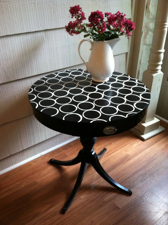 Vintage Black Round Side Table with Modern by LynorByJessica
