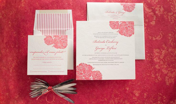 Rose letterpress wedding invitation.