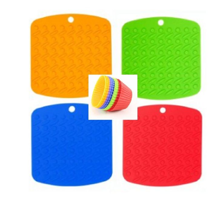 4 Silicone Pot Holders, Trivets, Plus Bonus Silicone Cupcake Liners 12 Pack