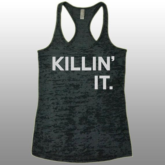 Killin' It Gym Workout Tank Top. Funny Running Gym Workout Shirt. Women'… – Gym Related