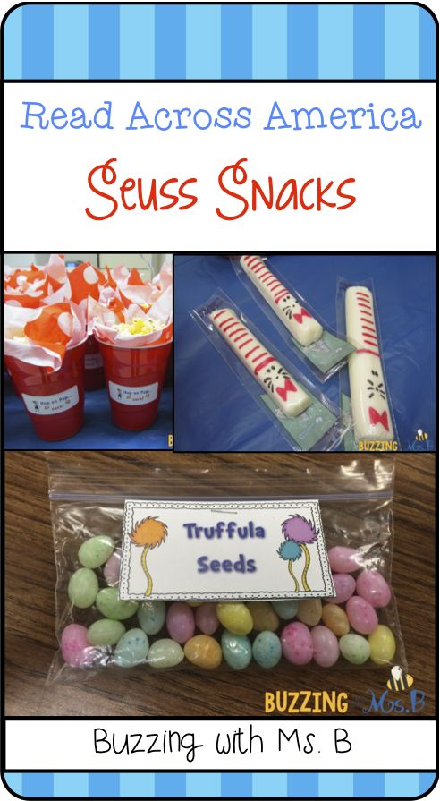 Read about how we made fun Seuss snacks each day: truffula seeds, cat in the hat cheese sticks, hop on pop...corn, and chocolate covered pretzels & oreos! Seuss Snacks: Read Across America snacks!