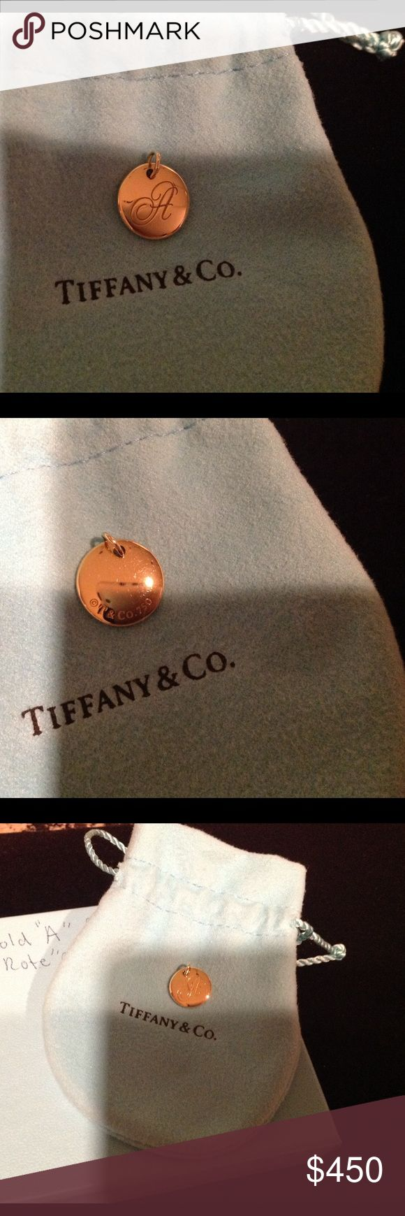 Tiffany & Co A Note Charm 18kt  SPECIAL SALE 💕💕 Small Tiffany and Company 18kt Yellow Gold  note charm . Comes with pouch and box. I had written note charm on box. Being sold online now at Tiffany and Co!!!!!! Tiffany & Co. Jewelry