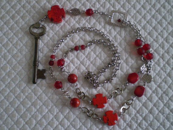Vintage skeleton key rosary necklace red by etceterahandcrafted