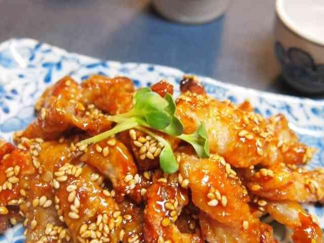 鶏皮の甘辛パリパリおつまみの画像