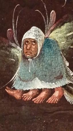 Ce détail de gnome à quatre pieds, mi-diablotin mi-oiseau émaille un fragment d'un Jugement Dernier conservé à Munich. Cette œuvre a d'abord été attribuée à « Brueghel d'Enfer » autrement dit Brueghel le Jeune (1564-1638). Puis dans les années 1930 on l'a donnée à Bosch (vers 1450-1516). Aujourd'hui les historiens de l'art sont persuadés qu'elle a été peinte par un suiveur au début du XVIe siècle.