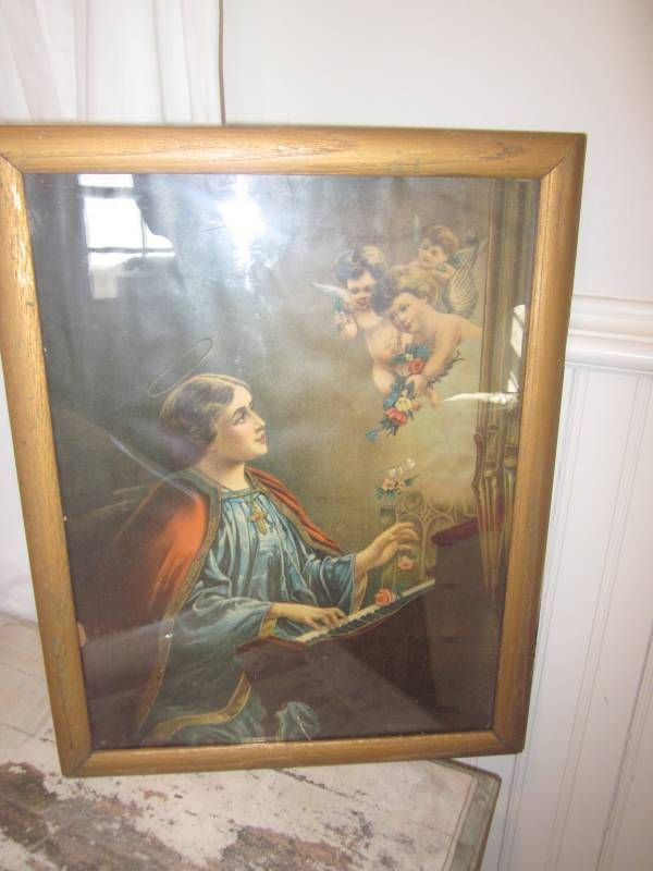 I HAVE AN ORIGINAL OLD PRINT OR LITHO OF ST CECELIA AND THE ANGELS. IT DOES HAVE A COUPLE OF AREAS WHERE THE PRINT HAS TORN AND A LITTLE EDGE HAS COME OUT. THE PAPERWORK INSIDE WAS DATED 1913 AND I CLEANED THE GLASS ON INSIDE AND OUT AND PUT NEW CARDBOARD ON THE BACK SINCE THE OTHER WAS IN REALLY BAD CONDITION. | eBay!