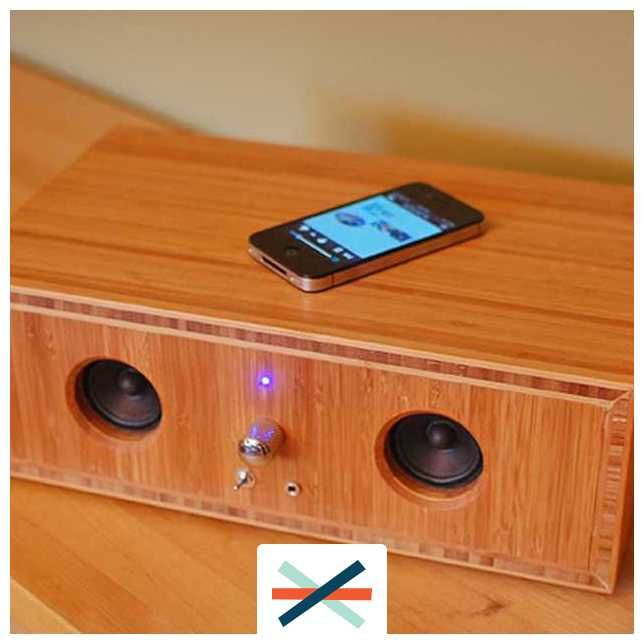 Upcycled computer speaker system housed in custom built bamboo enclosure, bluetooth enabled.  Good Etsy product idea?