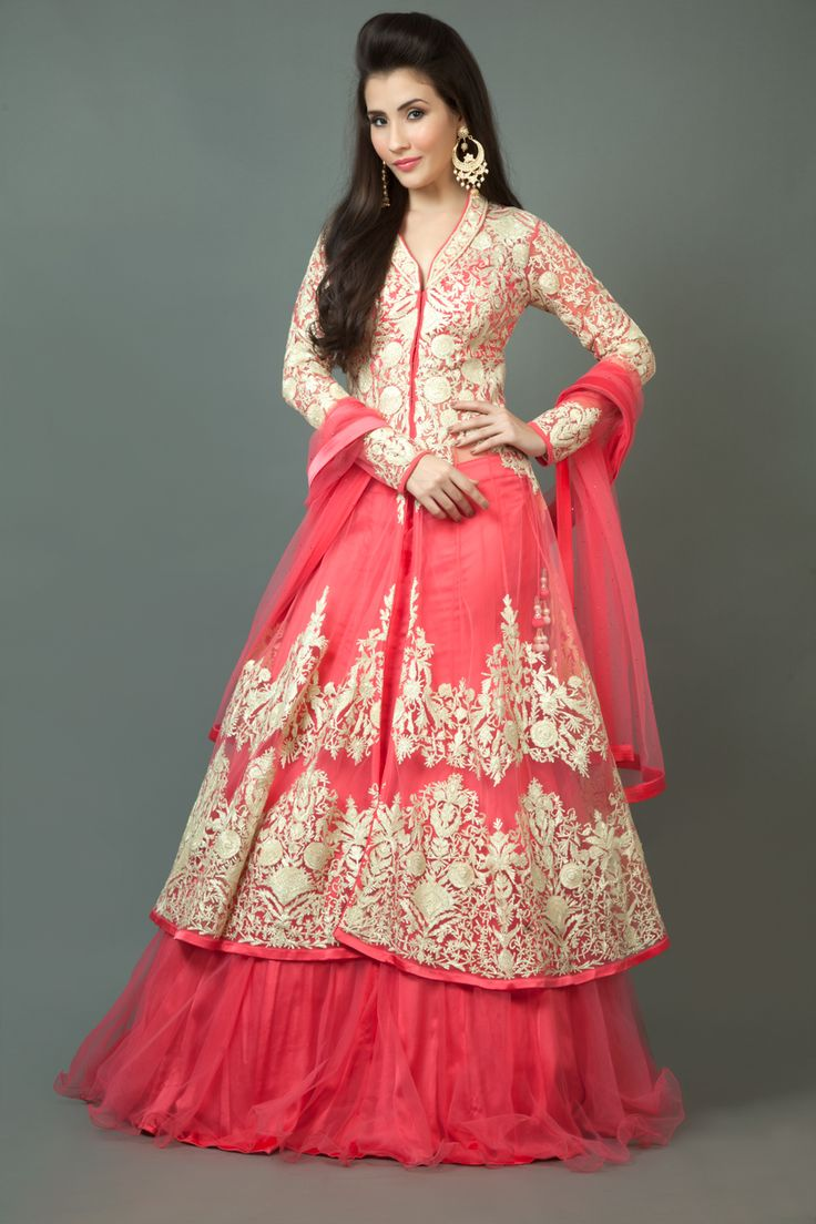 Net jacket ghagra and dupatta embellished with lace work
