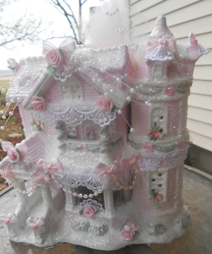 Shabby pink victorian christmas village house chic roses for Shabby chic christmas