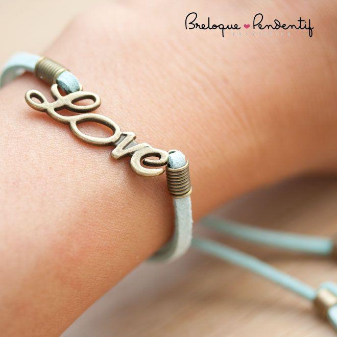 diy creation bijoux bracelet love suédine