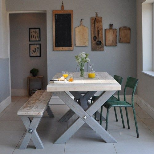 Reclaimed Wood Refectory Dining Table. Beautiful chunky reclaimed pine table with breadboard ends and trestle legs. Hand made in England. Salvaged refectory