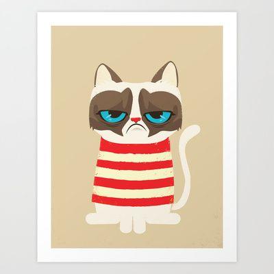 Grumpy meme cat  Art Print by Catalin Anastase   http://society6.com/product/grumpy-meme-cat_print#1=45