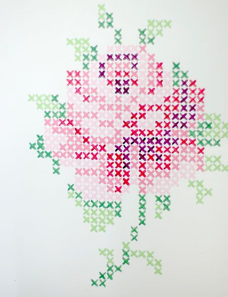 Cross stich rose mural from wunderschön-gemacht: vintage teatime. Do this with wall paint or with washi tape.