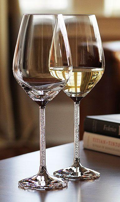 Swarovski Crystalline White Wine Glasses, Pair