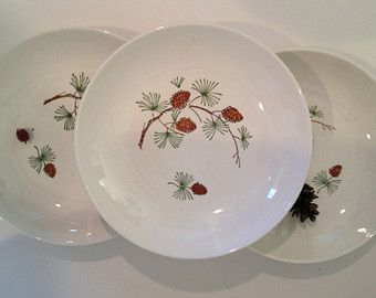 Christmas China Pine Tree Branch plate bowl vintage retro pine bough design hand painted Dinnerware Made in USA midcentury holiday decor